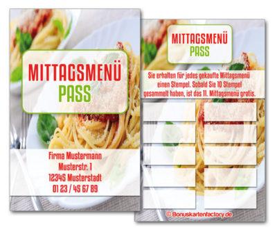 Mittagsmenü-Bonuskarten